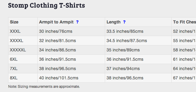 Brand specific sizing tables on each product page