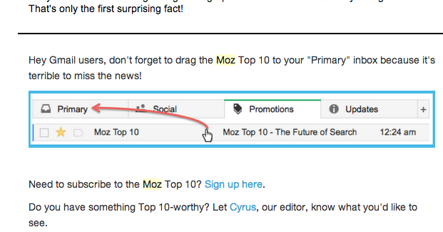 Graphic from Moz Newsletter Footer
